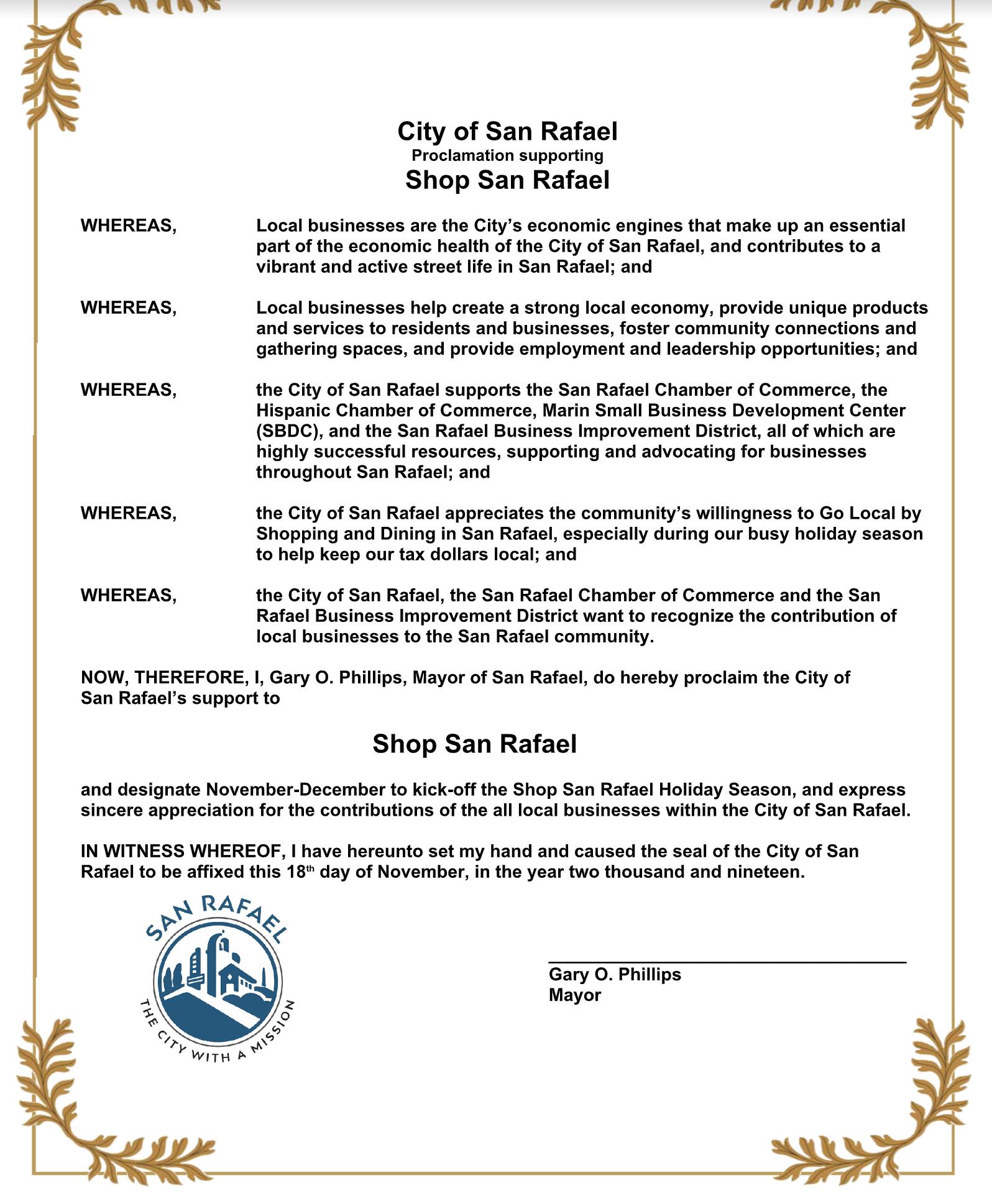 Shop San Rafael Proclamation